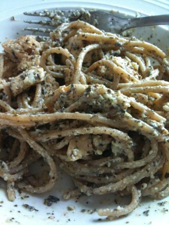 whole wheat pasta with chicken and basil pesto
