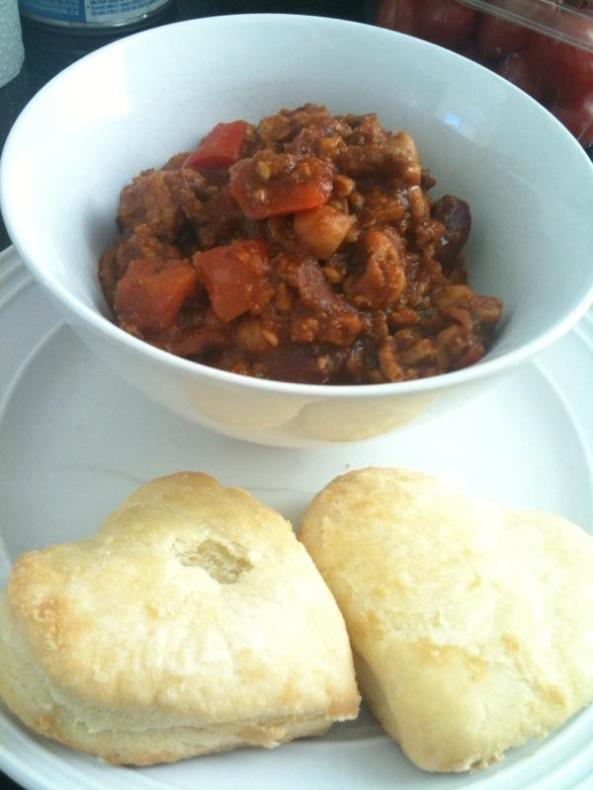Chicken Chili with two home made heart shaped dinner rolls