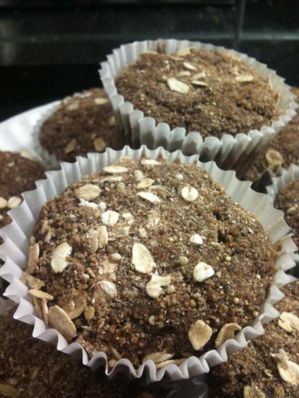 Chocolate Banana Bread Muffins with a multi-grain oat topping