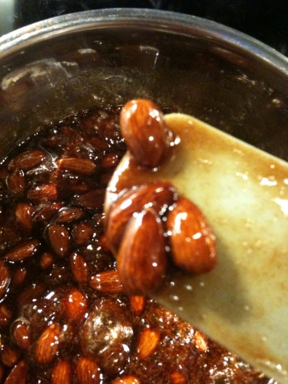 Almonds are still glossy, they are not ready yet, so keep cooking!