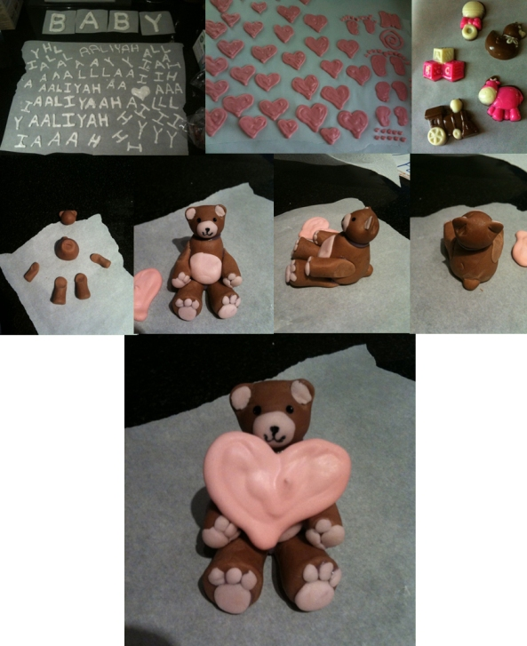 pre-cake: icing letters & decor, chocolates, and a chocolate fondant bear