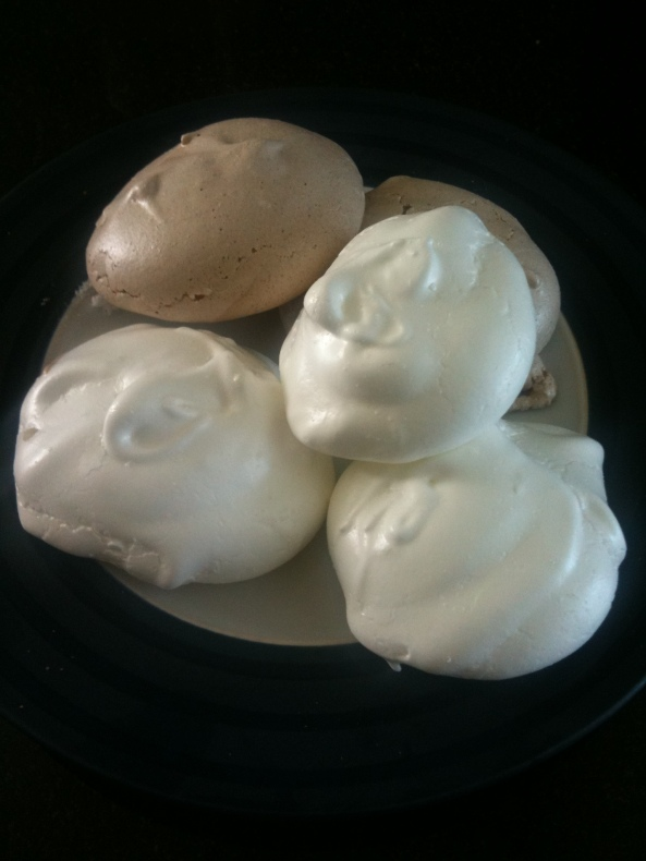 "my ""blob shaped"" meringue puffs, chocolate and vanilla :)"