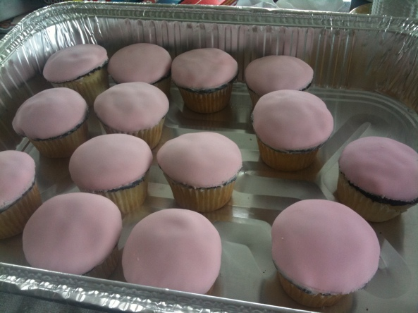 pink covered cupcakes (vanilla bottoms with chocolate tops)