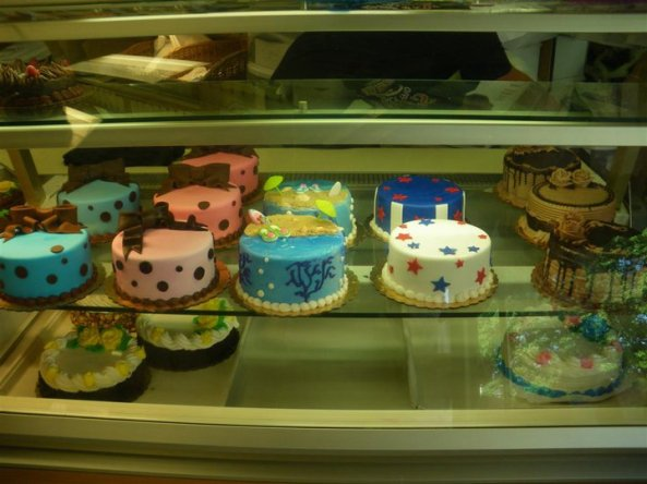 Some wonderful cakes in the display...