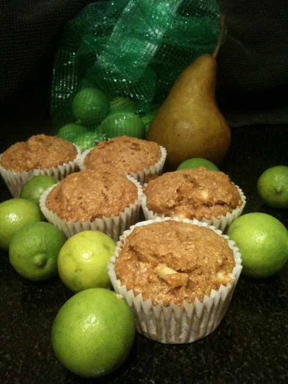 Finished Product: Key Lime Pear Bran Muffins! :) Yum! :)